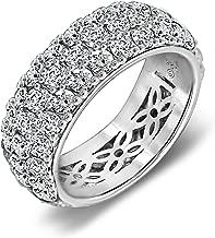 J'ADMIRE 5.5 ct Swarovski Zirconia 3 Row Pave Round Cut Ring, Platinum Plated Sterling Silver