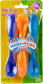 Nuby Wash or Toss Fork Assorted with Spoon 12 Pack, Multi, 12 Count