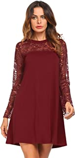 Zeagoo Women's Casual Floral Lace Stitching Long Sleeve O Neck Cocktail Formal Swing A-line Skater Dress