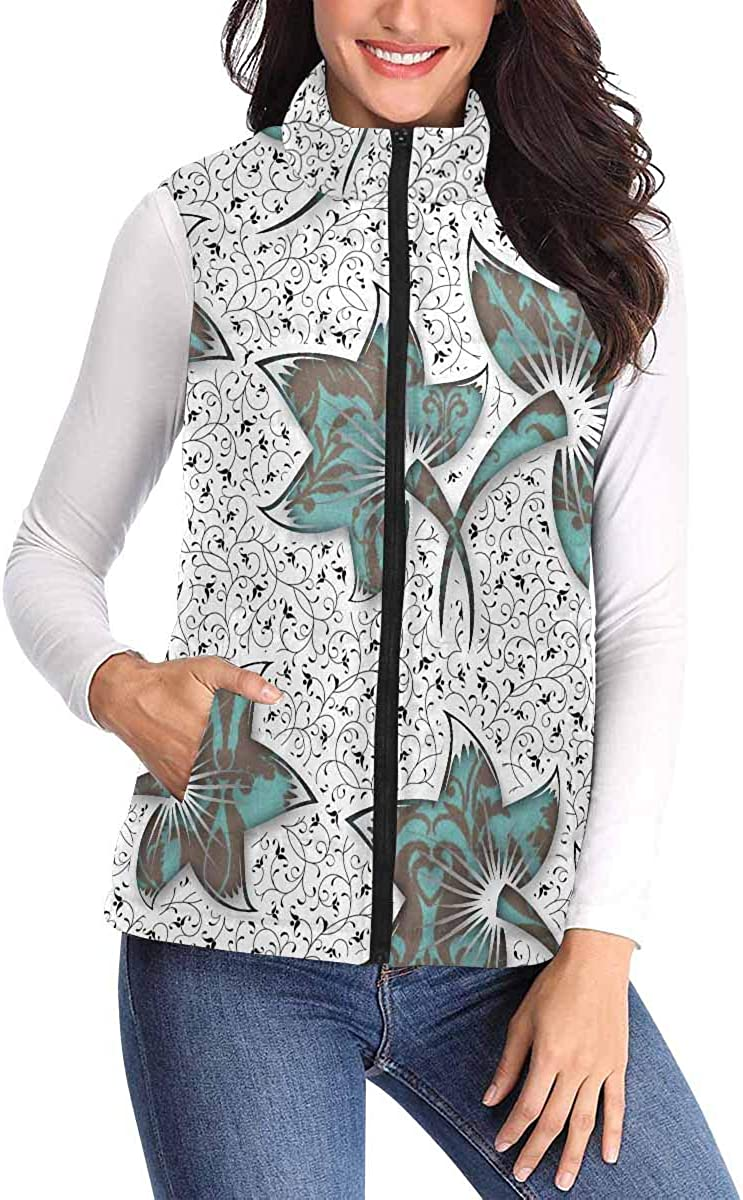 InterestPrint Womens Lightweight Vest Cozy Sleeveless Outerwear with Pocket Cartoon Turkey Bird
