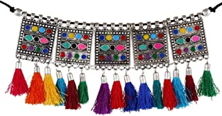 Oxidised Gypsy Square Multicolor Pompom Choker Necklace for Girls and Women 1675