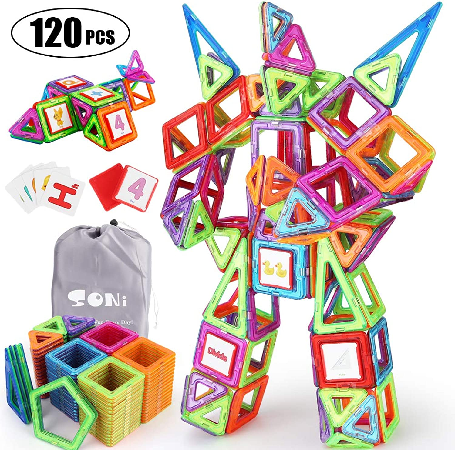 SONi 120Pcs Magnetic Building Blocks Educational Stacking Blocks Toddler Toys,Magnetic Blocks Set for Boys and Girls