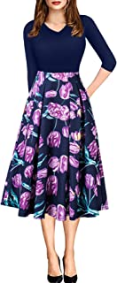 ECOLIVZIT Women Vintage Casual Swing 3/4 Sleeve Patchwork Floral Midi Dress Pockets Work