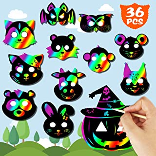 JINSEY Scratch Art Animal Masks 36 Set Rainbow Scratch Mask Scratch Paper for Kids Scratch Paper Art Rainbow Party Favors with Elastic Cords Scratching Tool