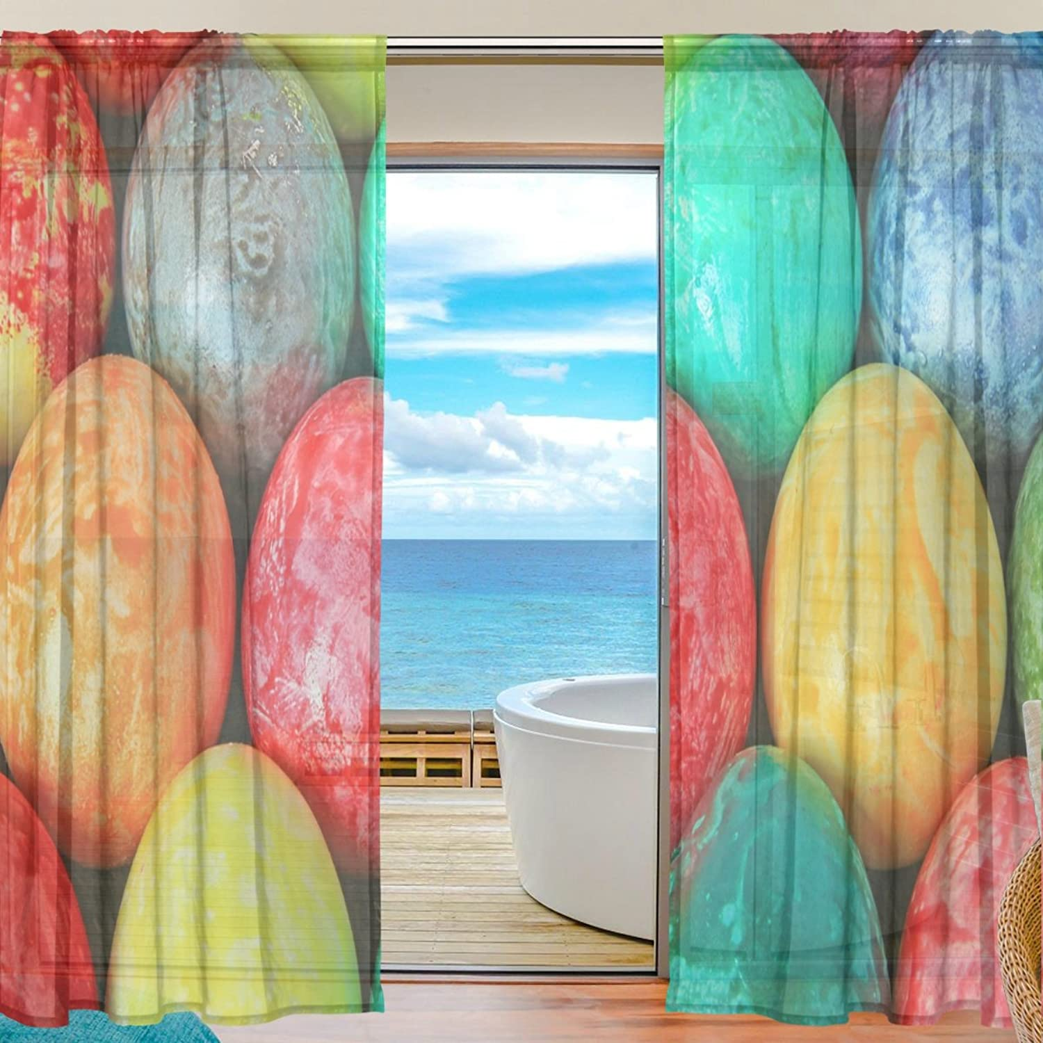 Vantaso Sheer Curtains 78 inch Easter Egg coloring with Oil Istock for Kids Girls Bedroom Living Room Window Decorative 2 Panels