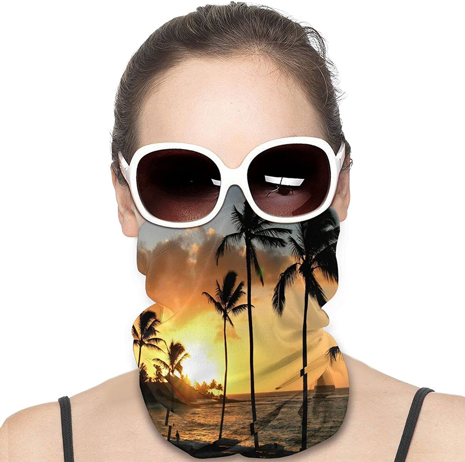 Ocean Sunrise Tropical Palm Tree Round Neck Gaiter Bandnas Face Cover Uv Protection Prevent bask in Ice Scarf Headbands Perfect for Motorcycle Cycling Running Festival Raves Outdoors