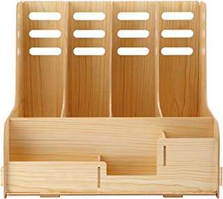 Office Wooden Stationery Desk File Rack Sorter Tray Storage Organiser For A4 Papers, Pens, Books, Letters And Documents