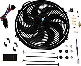 A-Team Performance 180081 Radiator Electric Cooling Fan 16inches Heavy Duty 12V Wide Curved 8 Blades Thermostat Kit 3000 CFM Reversible Push or Pull with Mounting Kit