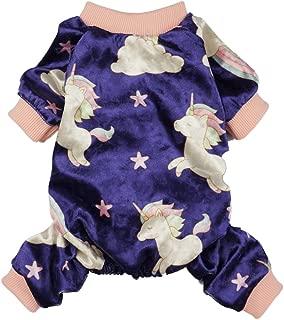 Fitwarm Fairy Unicorn Dog Pajamas Pet Clothes Jumpsuit PJS Apparel Soft Velvet Purple
