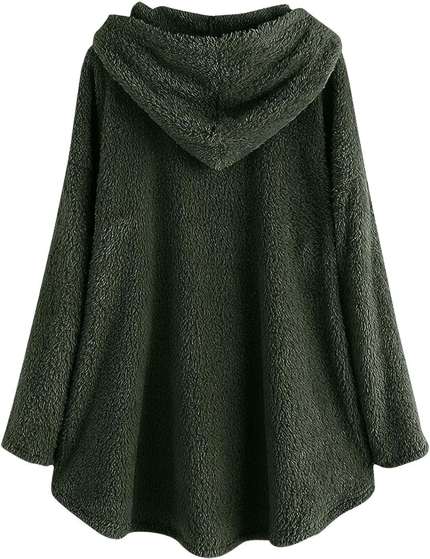 HCFKJ Sweatshirt Damen Große Größe Button Plüschjacke mit Kapuze Wolle Einfarbig Warm Langarm Mantel Pullover Bluse Herbst Winter Armee Grün