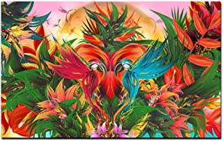 Fenfei Print Tropical Jungle Flowering Bird of Paradise Abstract Oil Painting on Canvas Wall Art Picture Poster for Living Room Cuadros 60cm x90cm No Frame