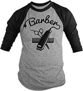 Men's Barber Shirts Hair Clippers 3/4 Sleeve Raglan Shirt