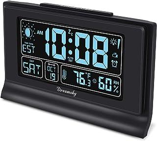 DreamSky 自動セットアラームクロック 寝室用 バッテリーバックアップ付き 湿度&室内温度、6インチ大型ディスプレイのデジタルクロック 日付/曜日&ムーンフェーズ 明るさ調光 USBポート自動DST