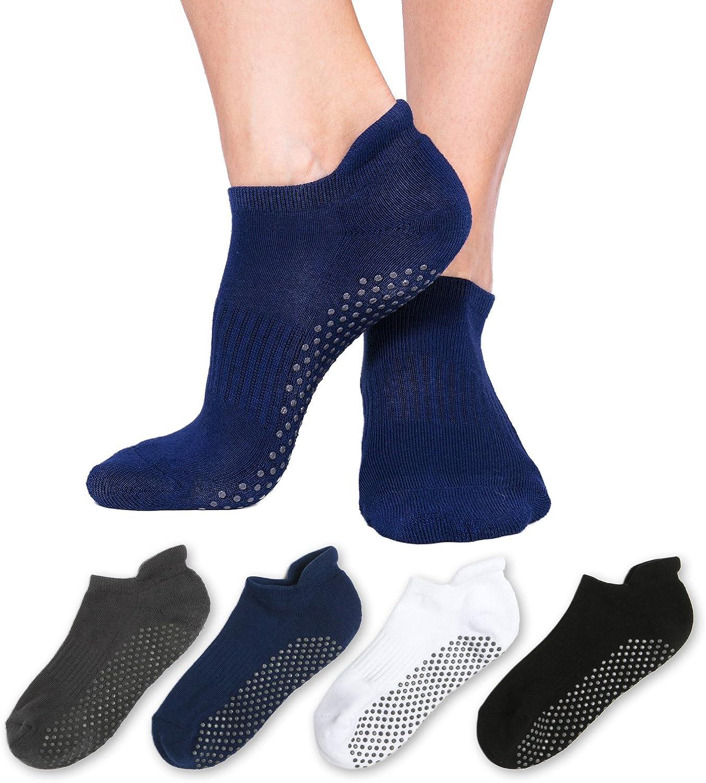 Non Slip Non Skid Socks for Women and Men– 4 Pack Pilates Yoga Grip Socks