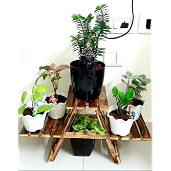 Generic SZ Crafts Vintage Wooden Multipurpose Folding Rack/Plant Stand with 3 Decks