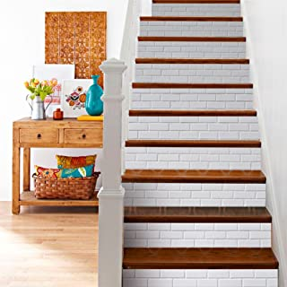 3D Stair Decals Stickers-Grayish White Brick Staircase Decals Removable Tile Stair Riser Decor Decals Peel and Stick Stairs Bakeplash Decals for Stair (6Pcs/Set)
