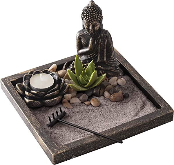 New Japenese Zen Sand Garden Ideal Desk Decor To Enhance Mindfulness And Practice Meditation During The Day Bronze Finish With Brown Sand By Existentials
