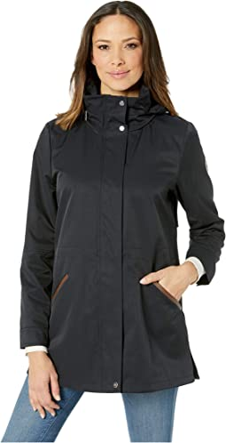 Cotton Anorak with Faux Leather Trim and Hood