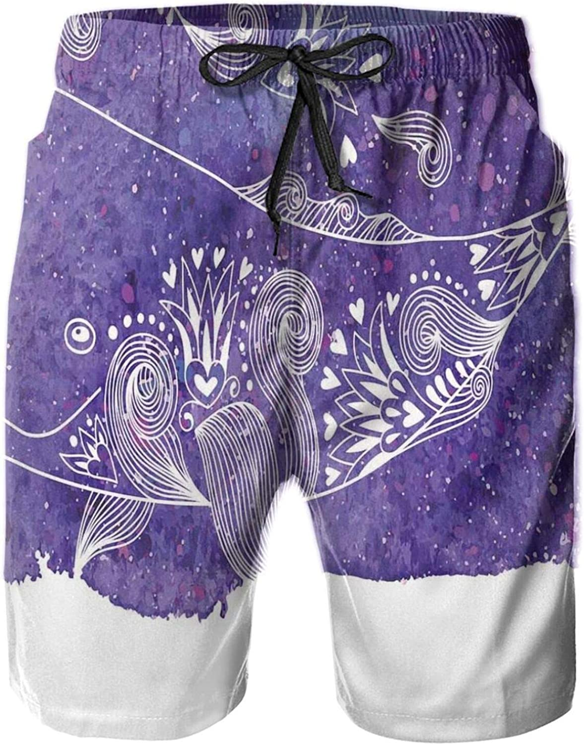 Watercolor Whale with Floral Flower Hearts Details Marine Celebration Artwork Print Drawstring Waist Beach Shorts for Men Swim Trucks Board Shorts with Mesh Lining,L