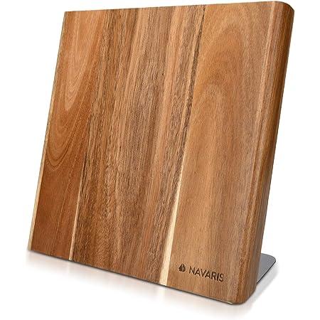 Navaris Bloc à Couteaux magnétique - Bloc aimanté 27,7 x 27,5 cm en Bois d'acacia - Range Couteau de Cuisine Vide - Support Vertical avec Aimant