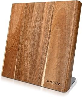 Navaris Bloc à Couteaux magnétique - Bloc aimanté en Bois d'acacia - Range Couteau de Cuisine Vide - Support Vertical avec...