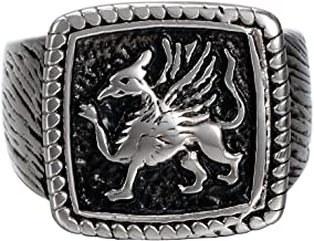 Mens Stainless Steel Gear Square Biker Ring, Vintage Gothic Eagle Lion Griffin Signet Band, Black Silver