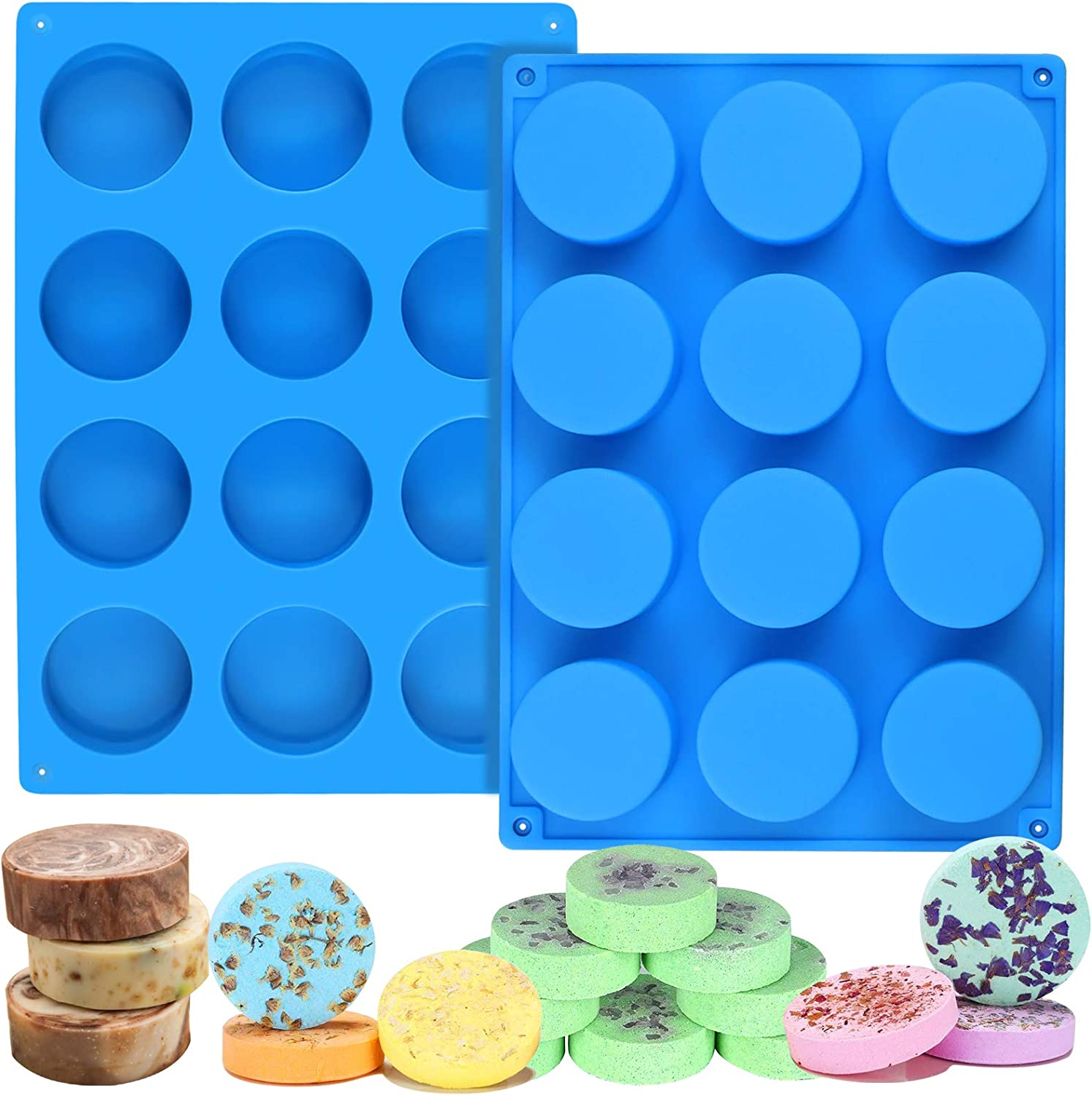 Palksky 2pcs 12Cavity Cylinder 40% OFF Cheap Sale Silicone H Round Soap Mold free shipping