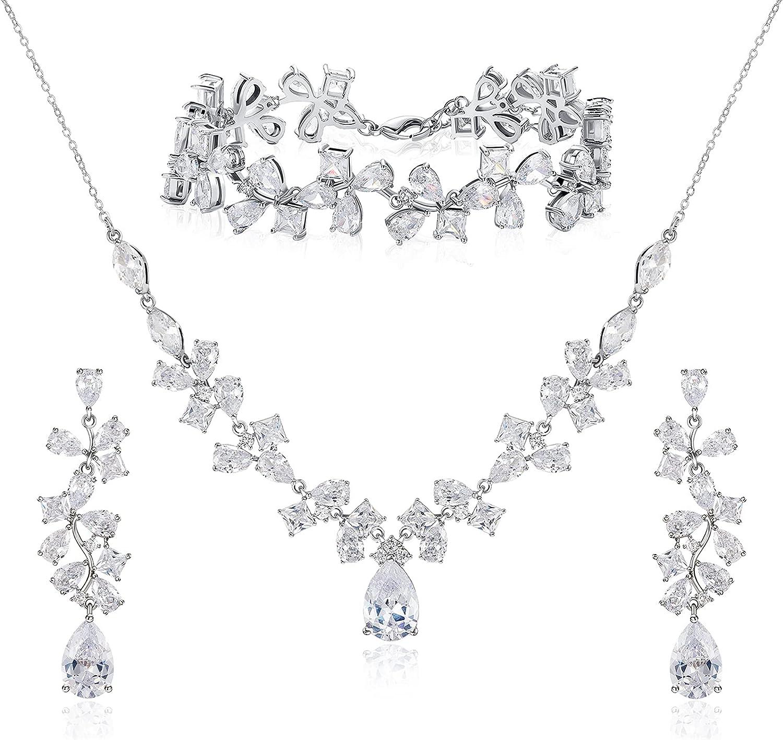 SWEETV Wedding Jewelry Sets for Brides, Cubic Zirconia Teardrop Necklace Dangle Earrings Bracelet Set for Bridesmaids, Wedding Prom Jewelry Sets for Women