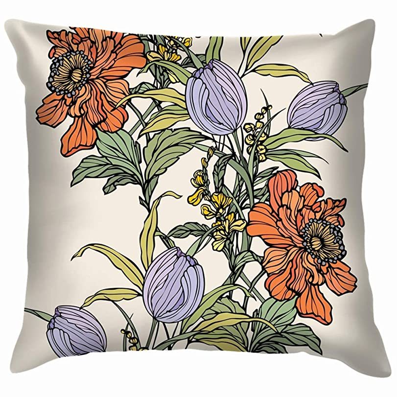 議題幻影大きなスケールで見ると花ケシチューリップ自然花投げる枕カバーホームソファクッションカバー枕カバーギフト45x45 cm