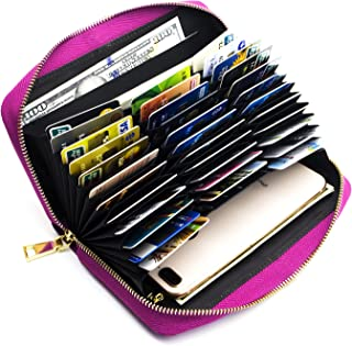 ANDOILT Genuine Leather Wallet for Women Men RFID Blocking Credit Card Holder Zipper Purse Cell Phone Handbag
