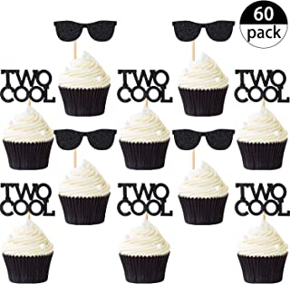 60 Pieces Two Cool Cupcake Toppers Black Sunglasses Cake Toppers 2nd Birthday Glitter Cupcake Toppers for Birthday Party Decoration