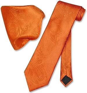 Vesuvio Napoli Burnt Orange PAISLEY NeckTie & Handkerchief Matching Neck Tie Set