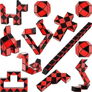 Set of 12 Packs Mini Snake Cube, 24 Blocks Snake Cube Puzzle Plastic Mini Puzzle Cube Brain Teaser Twist Cube for Party Bag Filler, Black- Red Color (12 Packs)