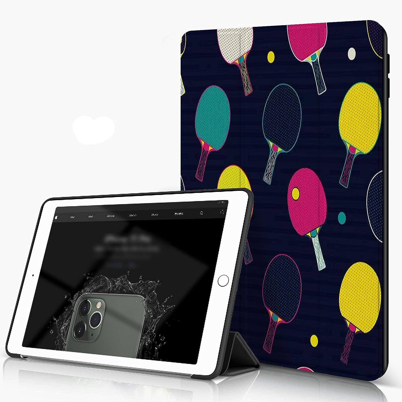 She Charm Funda para iPad 9.7 para iPad Pro 9.7 Pulgadas 2016,Pop y Colorido Bate de Ping Pong y Tenis de Mesa Patrón de Pelota,Incluye Soporte magnético y Funda para Dormir/Despertar
