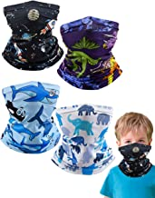 4 Pcs Reusable Kids Neck Gaiter Balaclava, UV Protection Face Cover Bandana for Summer Cycling Hiking Sport Outdoor