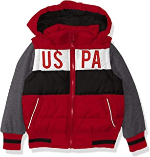US Polo Association Boys' Toddler Bubble Vest Jacket with Fleece Sleeves, Red/Black, 2T