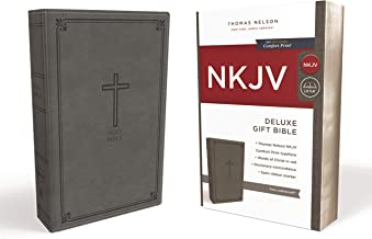 NKJV, Deluxe Gift Bible, Leathersoft, Gray, Red Letter, Comfort Print: Holy Bible, New King James Version
