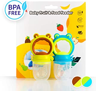 Baby Food Feeder - Fruit Feeder Pacifier (Vibrant Green & Chocolate Brown/Adorable Blue & Sassy Green)