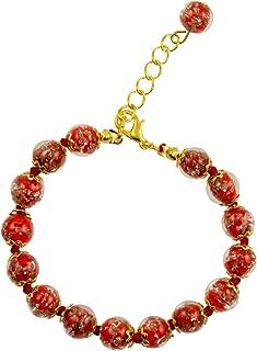 Genuine Venice Murano Sommerso Aventurina Glass Bead Strand Bracelet in Red 8+1