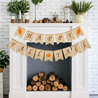 Whaline Autumn Happy Fall Yall Pumpkin Burlap Banner Harvest Home Decor Thanksgiving Day Bunting Flag Garland Fireplace Party Decoration