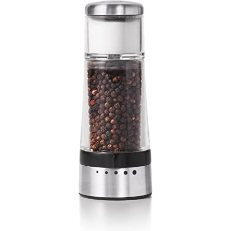 Double Salt /& Pepper Grinder en acier inoxydable Verre Shaker réglable grossièreté