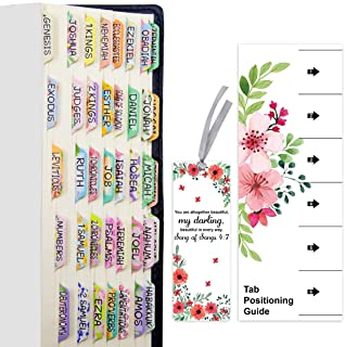 100 PCS Decorative Laminated Bible Tabs Cute Bible tabs for Women and Girl 66 Book Tabs 34 Blank Tabs for Old and New Test...