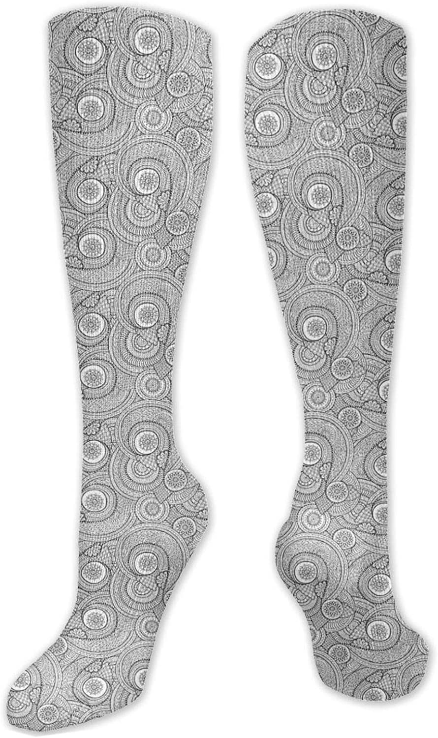 Compression High Socks-Asian Design Elements Traditional Paisley Floral Pattern Swirls Leaves Ethnic Motif Best for Running,Athletic,Hiking,Travel,Flight