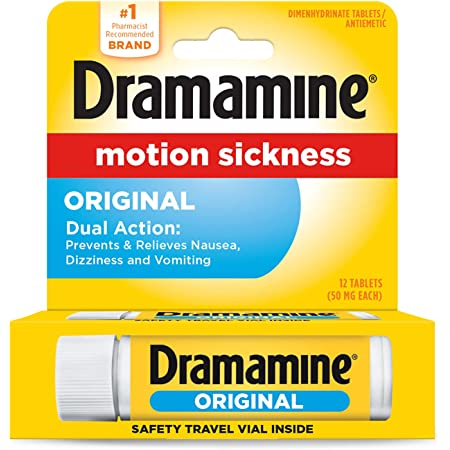 Dramamine Formula Motion Sickness Relief, Original, Pack of 1, 12 Count