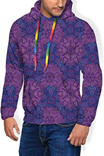 GULTMEE Men's Hoodies Sweatershirt, Paisley Flower Inspired Design with Inner Swirls Leaves Image,5 Size