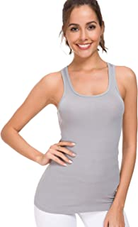 Ribbed Tank Tops for Women Racerback Scoop Neck Tight Activewear
