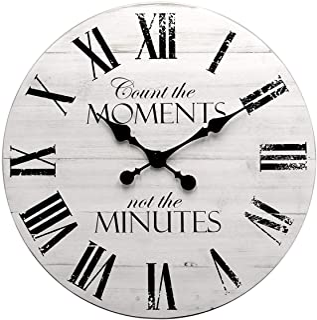 GoodTime 24 Inch Noiseless Large Rustic Wooden Wall Clock – Oversize Farmhouse Roman Numerals Quartz Silent Clock - Big Wo...