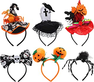 Elcoho 6 Pack Assorted Styles Halloween Headbands Ghost Pumpkin Sequins Witch Hat Spider Headbands Boppers for Halloween Party Supplies