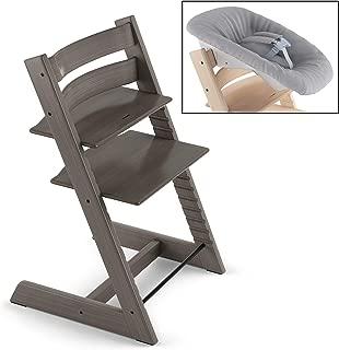 Stokke 2019 Tripp Trapp Hazy Grey Chair & Grey Newborn Set Bundle