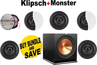 Klipsch Architectural CDT-2650-C II 50 W RMS Speaker - 2-way - White (Qty 5) + Klipsch - R110SW + Monster Cable - PLATXPMS50 Bundle